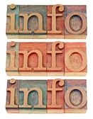 Info word in wood type — Photo