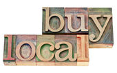 Buy local in letterpress wood type — Stock Photo