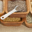 Chia and other healthy seeds - Foto Stock