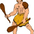 Cartoon caveman holding club - Stock Vector