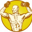 Male humanatomy body builder flexing muscle — Vector de stock #10816247