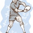 Rugby Player Running With Ball — Stock Vector