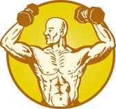 Fisicoculturista anatomía humana masculina flexión del músculo — Vector de stock