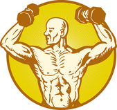 Male human anatomy body builder flexing muscle — Stockvector