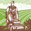 Vector de stock : Gardener Landscaper Riding Lawn Mower Retro
