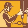 Stock Vector: Factory Worker Operator With Drill Press Retro