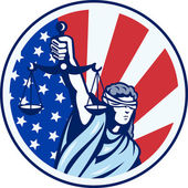 American Lady Holding Scales of Justice Flag retro — Vector de stock
