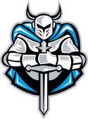 Riddare med svärd och cape framsidan retro — Stockvektor