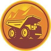 Mining Dump Truck Retro — Stock Vector