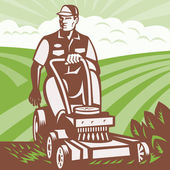 Gardener Landscaper Riding Lawn Mower Retro — Stockvektor