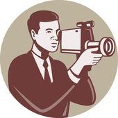 Photographer Shooting Video Camera Retro — Stock Vector