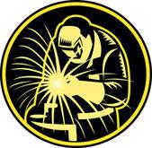 Soldador com retro visor de tocha de soldagem — Vetorial Stock