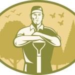 Gardener Landscaper Farmer Retro — Stock Vector #11350516