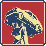 Механик техник автомобилей ремонт ретро — Cтоковый вектор