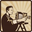Photographer Shooting Vintage Camera Retro — Stock Vector