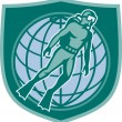 Scuba Diver Diving Dive World Shield — Image vectorielle