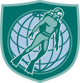 Escudo de mundo de mergulho mergulho scuba diver — Vetorial Stock