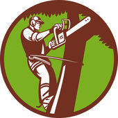 Arborist Tree Surgeon Trimmer Pruner — Stok Vektör