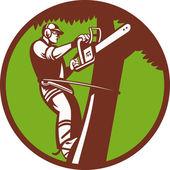 Arborist Tree Surgeon Trimmer Pruner — Stock Vector