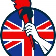 Hand Holding Flaming Torch British Flag - Stockvectorbeeld