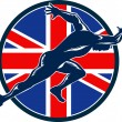 Runner Sprinter Start British Flag Circle - Stockvectorbeeld