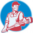 Plumber Worker Monkey Wrench Retro — Stock Vector #11525362