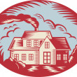House Homestead Cottage Woodcut — Stock Vector #11525367