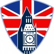 Big Ben London Clock Tower British Flag — Vettoriali Stock