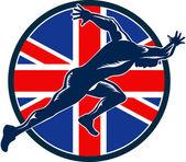 Runner Sprinter Start British Flag Circle — Stock Vector