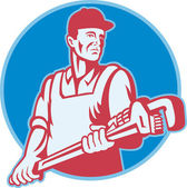 Plumber Worker Monkey Wrench Retro — Stock Vector