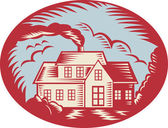 House Homestead Cottage Woodcut — Stock Vector