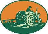 Farmer Worker Driving Farm Tractor — Vector de stock