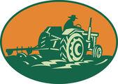 Tractor de granja conducción campesino trabajador — Vector de stock