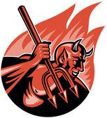 Devil Demon With Trident Pitchfork — Stock Vector