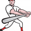 Baseball Player Batting Cartoon - Stock Vector