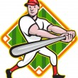 Baseball Player Batting Diamond Cartoon — ストックベクタ