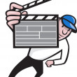 Director With Movie Clapboard Cartoon - Stock Vector