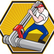 Plumber Worker With Adjustable Wrench Cartoon - Stock Vector