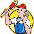 Plumber Worker With Adjustable Wrench Phone — Stock Vector