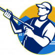 Power Washing Pressure Water Blaster Worker - Imagen vectorial