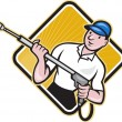 Power Washing Pressure Water Blaster Worker — Imagen vectorial