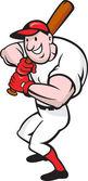 Baseball Player Batting Cartoon — Stock Vector