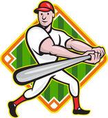 Baseball Player Batting Diamond Cartoon — Stock Vector