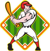 Honkbal speler batting diamant cartoon — Stockvector