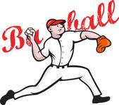 Baseball Pitcher Player Cartoon — Stock Vector