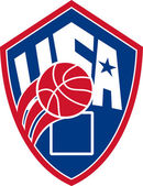 United States USA American Basketball Ball Shield — Stock Vector