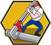 Plumber Worker With Adjustable Wrench Cartoon — Stock Vector