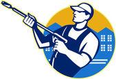Power tvätt tryck vatten blaster arbetare — Stockvektor
