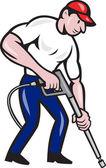 Puissance lavage pression eau blaster travailleur — Vecteur