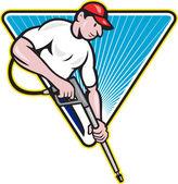 Moc mycia ciśnienie wody blaster pracownika — Wektor stockowy